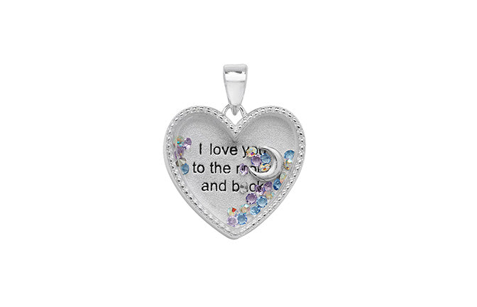 Sterling Silver Heart Shaped Pendant with 'I Love You' Message SP592C