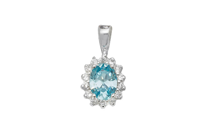 Sterling Silver Light Blue Cubic Zirconia Pendant SP615B