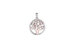 Rose Gold Plated Sterling Silver Cubic Zirconia Tree of Life Pendant SP708C