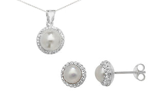 Sterling Silver Cubic Zirconia and Cultured Pearl Pendant SP714B