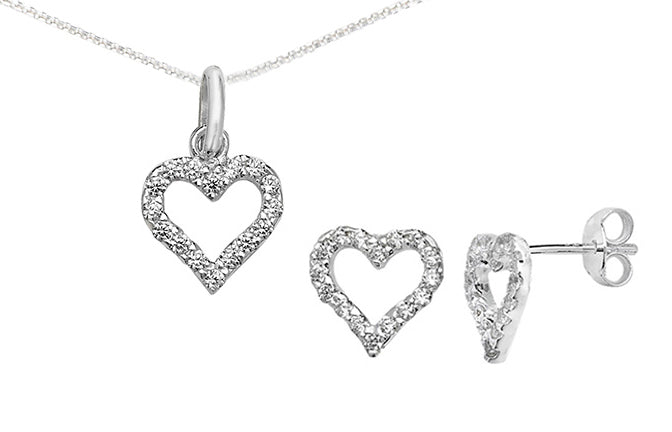 Sterling Silver Pave Cubic Zirconia Set Heart Pendant SP730A