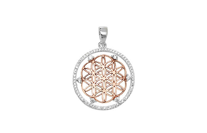 Sterling Silver Two Tone Cubic Zirconia Snowflake Design Pendant SP770B