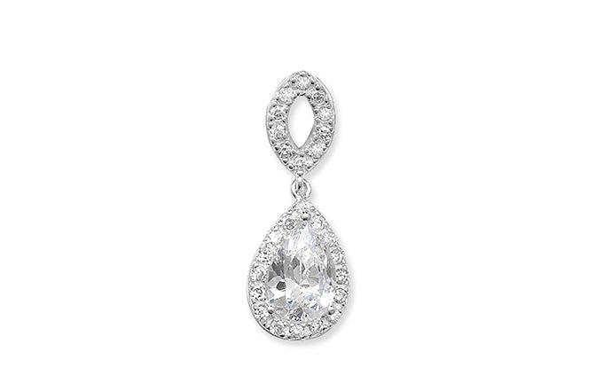 Sterling Silver Cubic Zirconia Fancy Drop Pendant SP784A