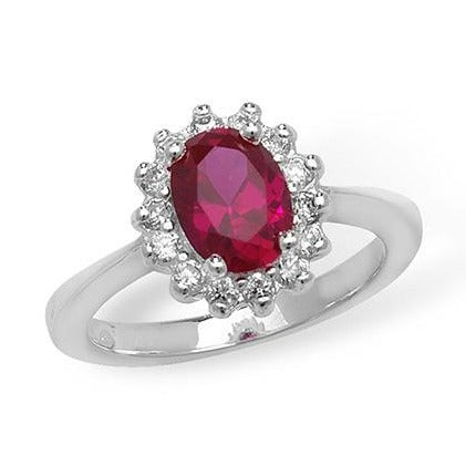 Sterling Silver Red and White Cubic Zirconia Ring SR026A