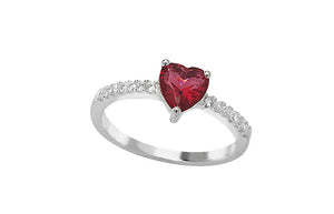 Sterling Silver Cubic Zirconia Ring set with a Red Heart Stone SR028B