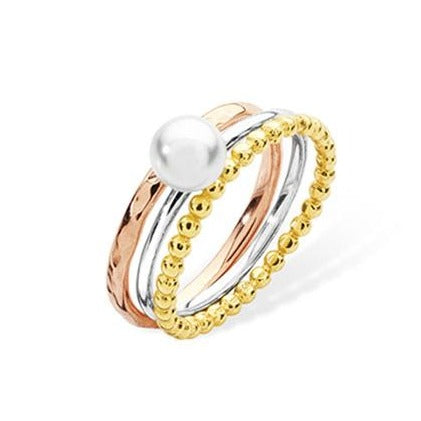 Sterling Silver Triple Ring Three Coloured Rings with Pearl SR037A