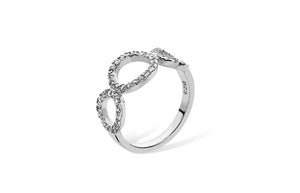 Rhodium Plated Sterling Silver Cubic Zirconia Circle Design Ring SR051B