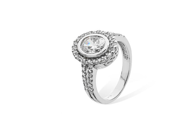 Sterling Silver Ring set with Cubic Zirconias SR067B