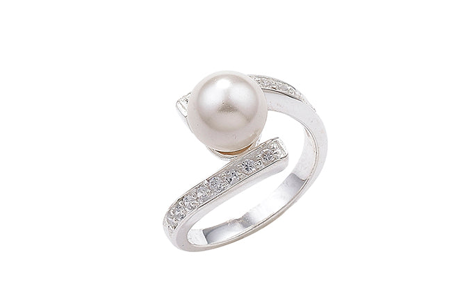 Sterling Silver Cubic Zirconia and Pearl Dress Ring SR138A