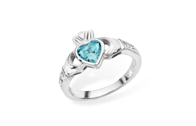 Sterling Silver Heart Shaped Aquamarine Cubic Zirconia Cladagh Ring SR139B