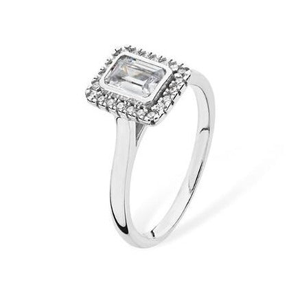 Sterling Silver Ring set with Emerald Cut Cubic Zirconia SR181A