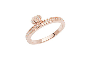 Rose Gold Plated Sterling Silver Cubic Zirconia Ring with Heart Charm SR196A
