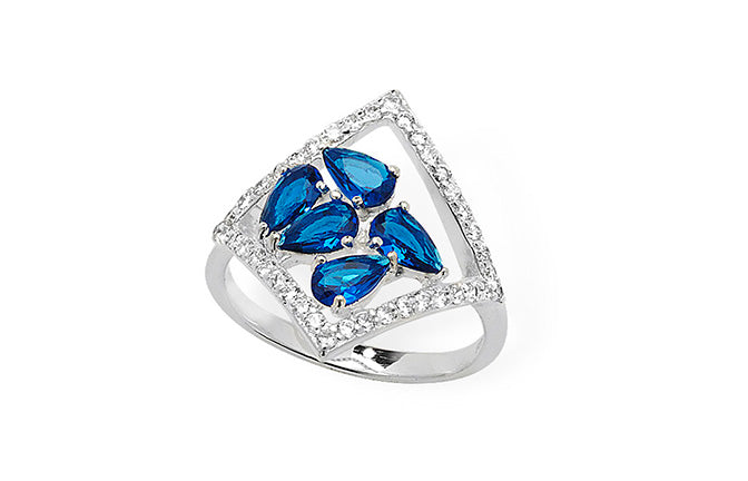 Sterling Silver Ring set with Blue Cubic Zirconias SR213C