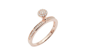 Rose Gold Plated Sterling Silver Cubic Zirconia Ring with Disc Charm SR243A