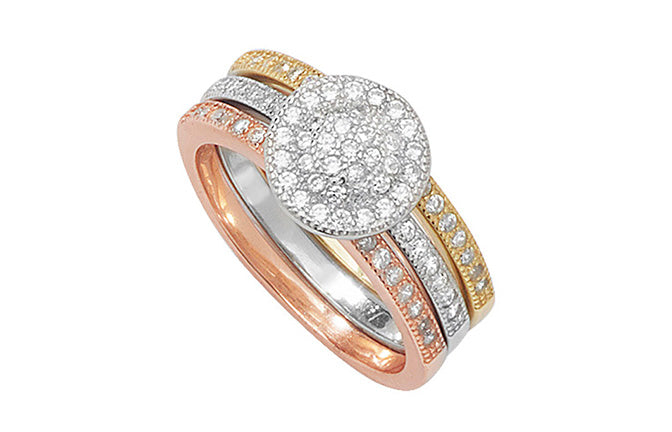 Gold Plated Sterling Silver Stacked Dress Ring (SR255B)