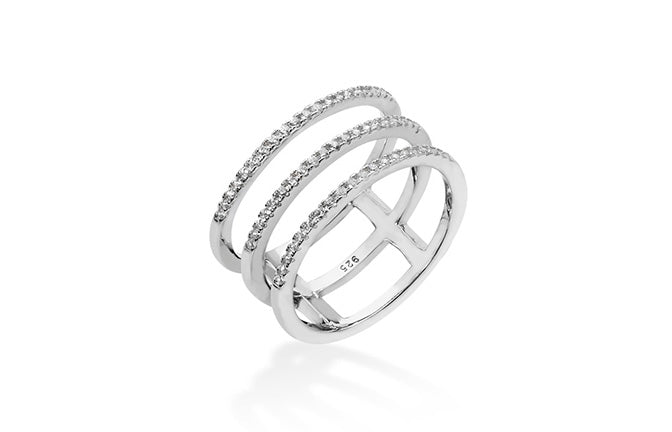 Sterling Silver Cubic Zirconia Cage Design Ring SR345A