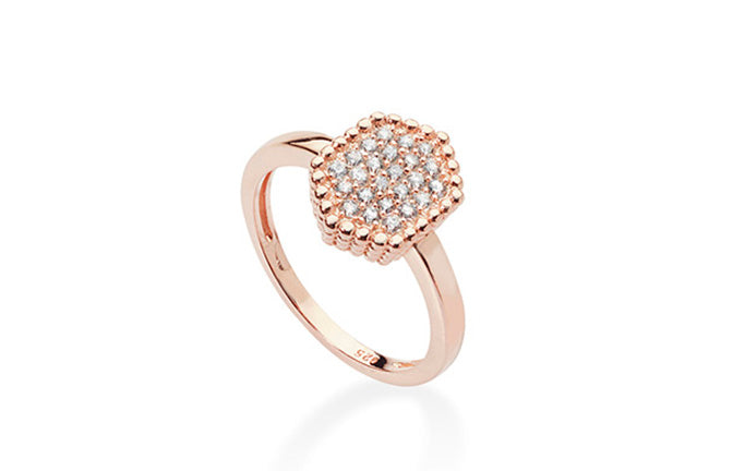 Rose Gold Plated Sterling Silver Cubic Zirconia Pave Set Ring SR347A