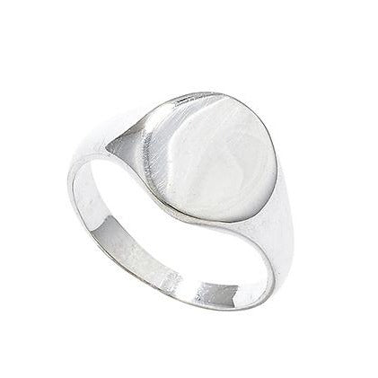 Sterling Silver Plain Gents Signet Ring SR351A