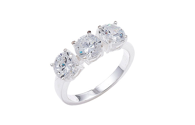Sterling Silver Cubic Zirconia Trilogy Ring SR403A