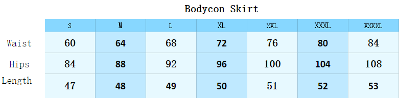 Size guide of Bodycon Skirt