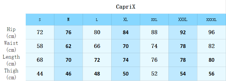 Size guide of Athletic CapriX