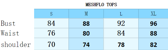 Size guide of MeshFlo