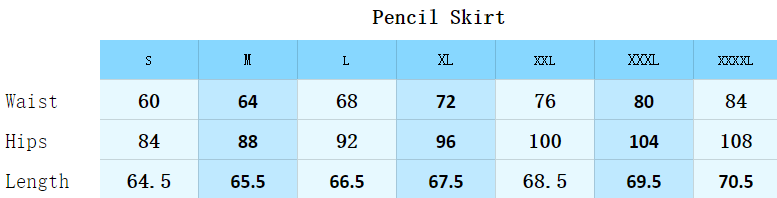 Size guide of Pencil Skirt