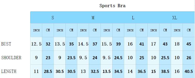 Size guide of Sports Bras