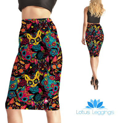 Crazy Cats Pencil Skirt