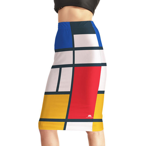 Colored Palette Pencil Skirt