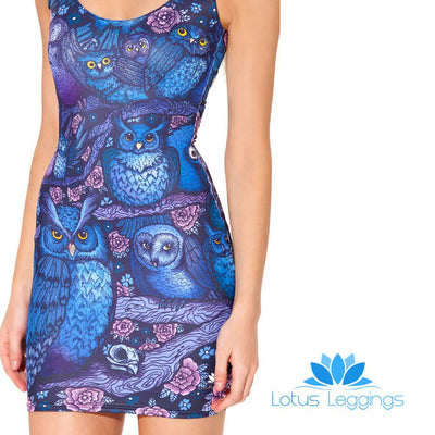 MIDNIGHT OWL SLEEVELESS DRESS