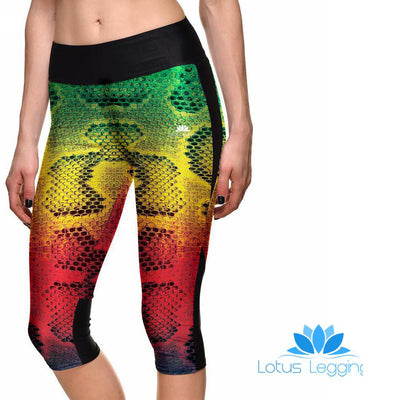 RAINBOW SNAKESKIN ATHLETIC CAPRI