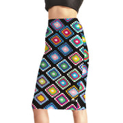 Rainbow Quilt Pencil Skirt