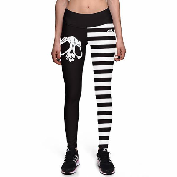 SKULL STRIPE ATHLETIC LEGGINGS