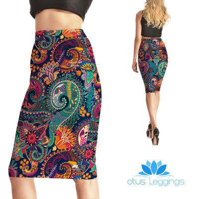 Colorful Swirls Pencil Skirt