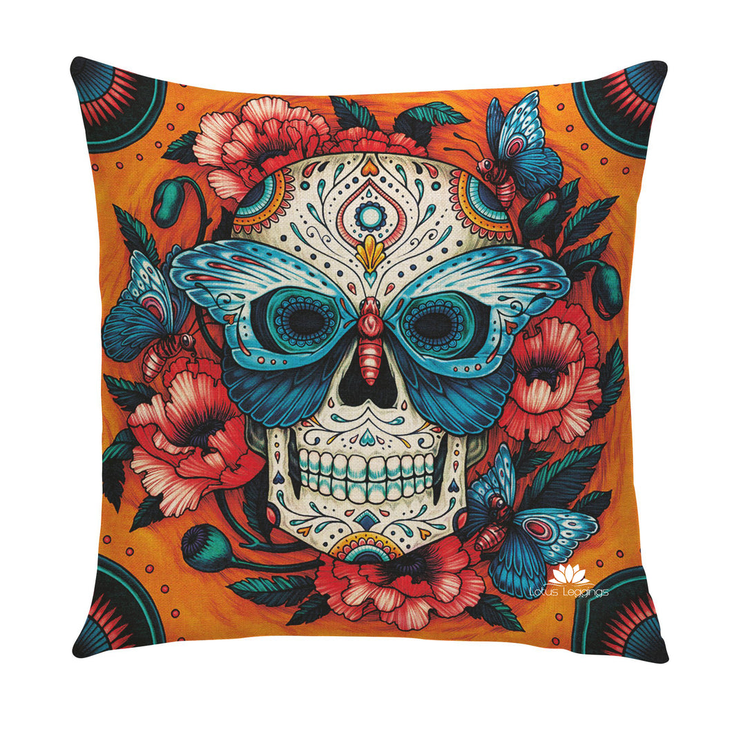 Butterfly Skull Pillow Cover