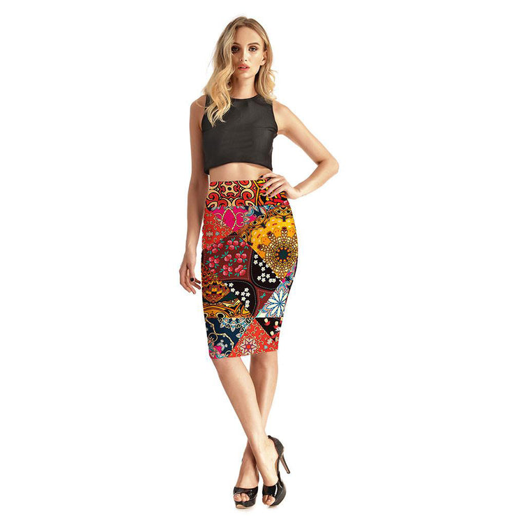 Prints on Prints Pencil Skirt