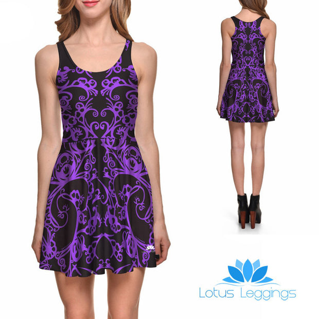 PURPLE SCROLLWORK SKATER DRESS