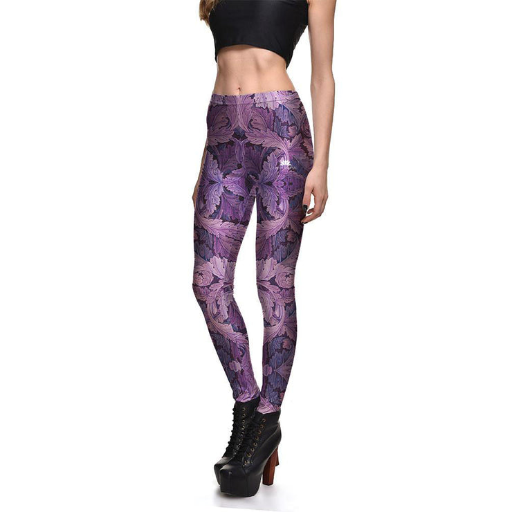 Purple Leaves Leggings