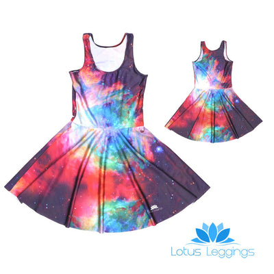 RAINBOW GALAXY SKATER DRESS