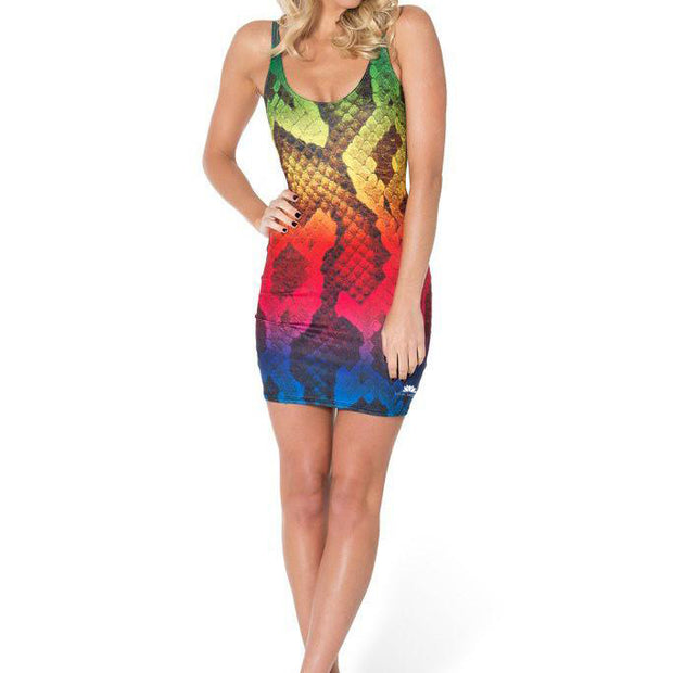 RAINBOW SNAKESKIN SLEEVELESS DRESS