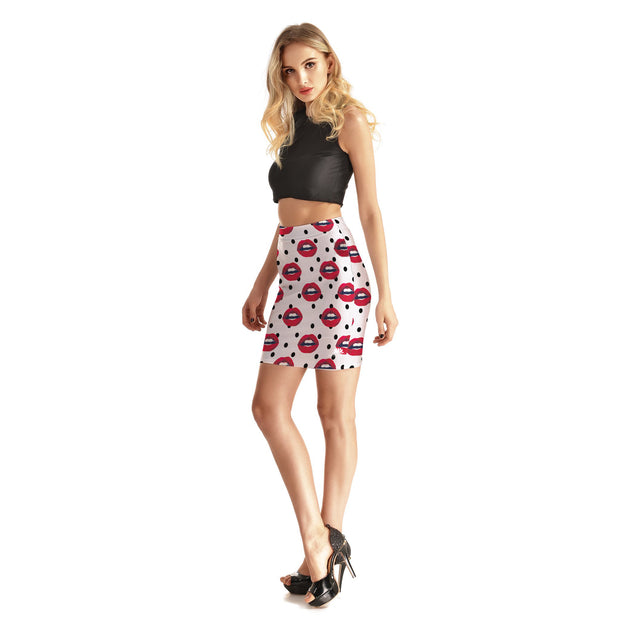 Chatty Lips Bodycon Skirt