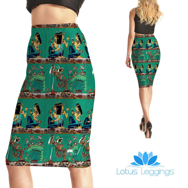 Egyptian Scroll Pencil Skirt