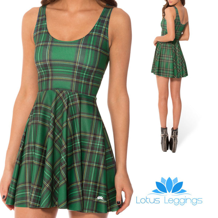 TARTAN GREEN SKATER DRESS
