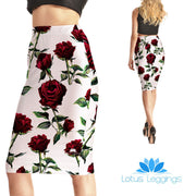 Pretty Rose Pencil Skirt