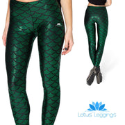 DARK GREEN MERMAID LEGGINGS