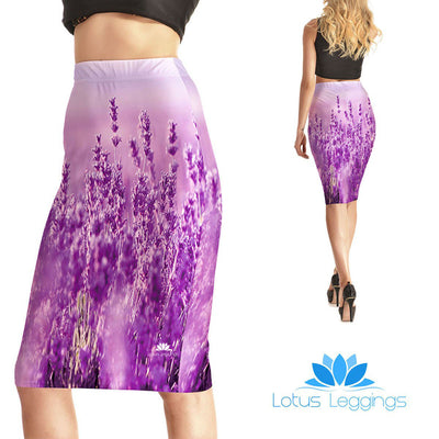Purple Floral Pencil Skirt