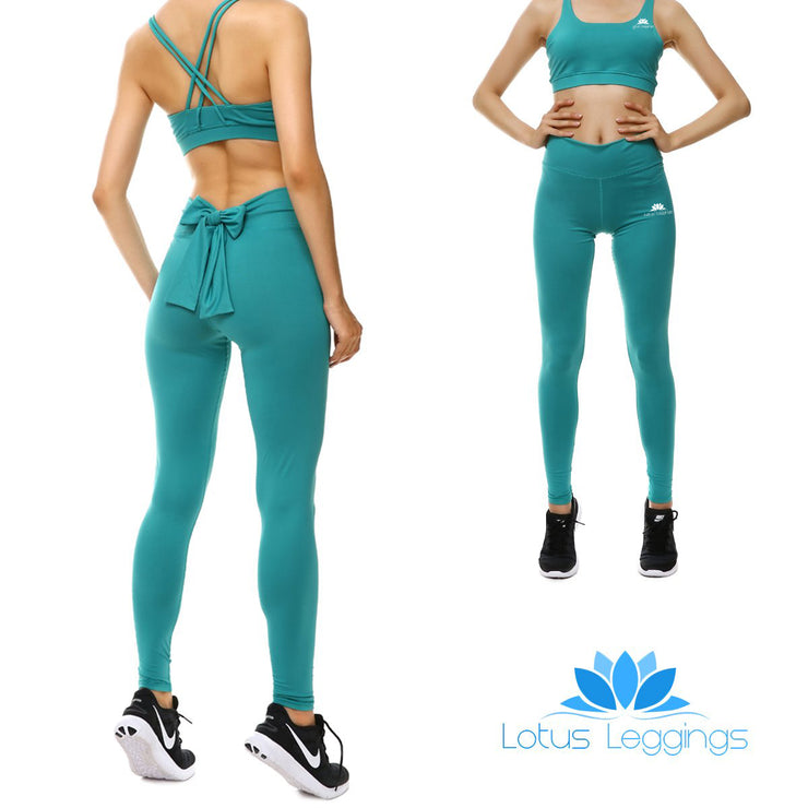 Teal Bow Leggings
