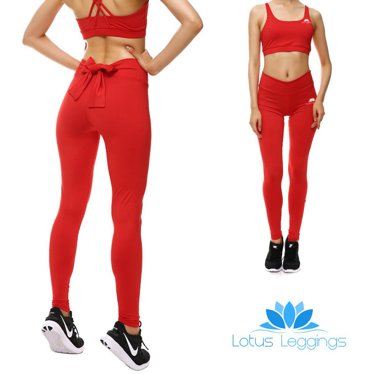 Rosy Red Bow Leggings