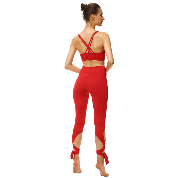 Rosy Red Tie-Up Leggings - Lotus Leggings
